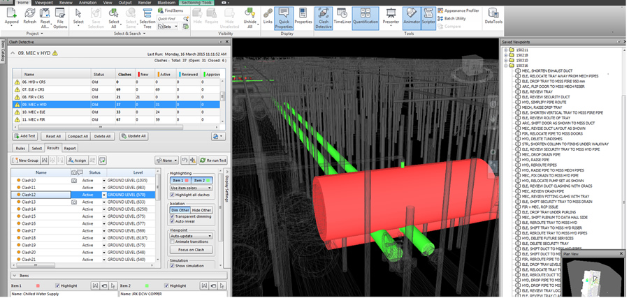 Sample of Navisworks Automated Clash Detective Interface900